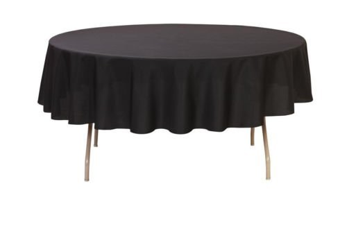 "Perfectmaze 1pc Rectangle Round Tablecloths for Home, Wedding, Holidays; Birthday Party, Bridal / Baby Shower, or Restaurant Use (Round 90"", Black)"