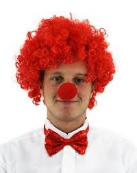 Ilovefancydress Clown Set Rote Krause Afro Perucke Rote