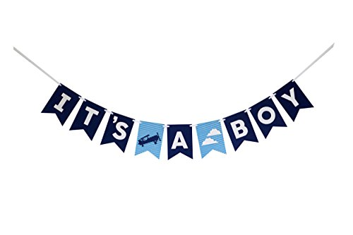 Decomod It's A Boy Banner Laser Cut Felt 50 inches Wide - Airplane Clouds Blues