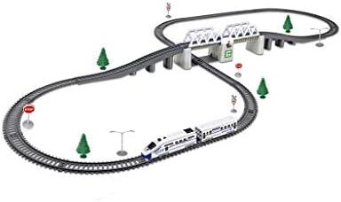 LIUFS-レール 高速鉄道車両電気自動車パズル子供用おもちゃ男の子ハンズオントラックトレイン高速鉄道玩具高速鉄道桟橋+2コンパ