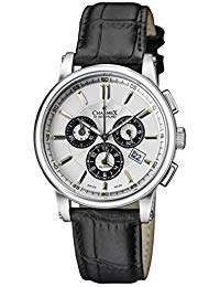Charmex of Switzerland Kyalami Luxury Men's Watch | 41mm Swiss Made Alarm Chronograph | Black Genuine Leather Strap | Water Resistant | Silver-plated Stainless Steel Case 2065
