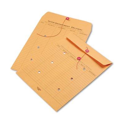 Light Brown Kraft String & Button Interoffice Envelope, 10 x 13, 100/Box, Total 100 EA