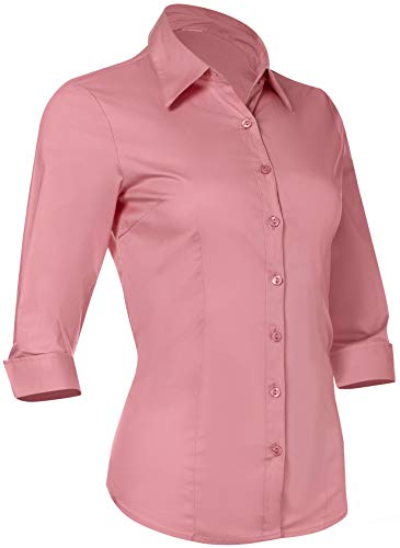 (Button Down Shirts for Women 3 4 Sleeve Fitted Dress Shirt and Blouses Work Top (1XL Plus Size, New Pink))