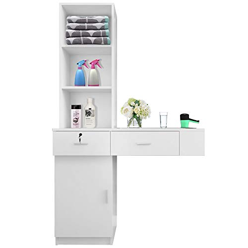 SSLine Classic White Wall Mounted Salon Station Beauty Salon Spa Locking Storage Cabinet Table with 2-Drawer/3-Shelf/1 Cupboard/3 Tool Inserts Barber Styling Station for Stylist Hair Salon Barber Shop