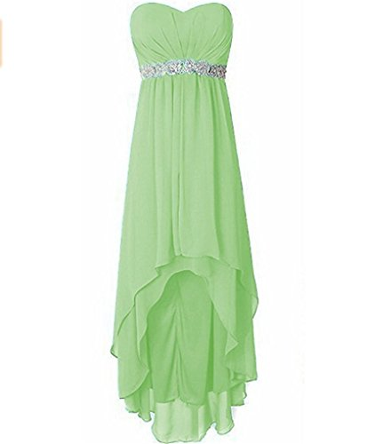 Empire A Sleeveless High Sashes Wedding Sage Line Beads Bridesmaid Party Strapless Gowns Dresses Low Chiffon waXUIqdX