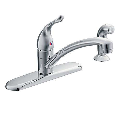 (Moen 67430 Chateau Single Handle Kitchen Faucet with Protege Side Spray, Chrome)
