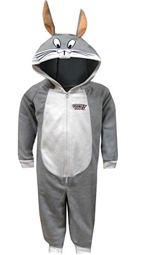 Looney Tunes Boys' Little Looney Toons Bugs Bunny One Piece Critter Pajama, Gray -