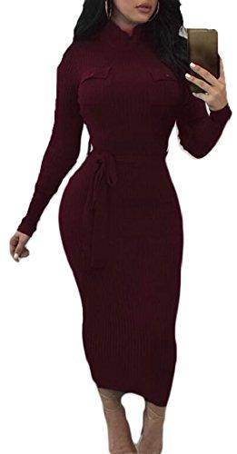Jaycargogo Femmes À Col Roulé Manches Longues Robe Crayon Partie Du Club Avec Bodycon Vin Rouge De La Ceinture