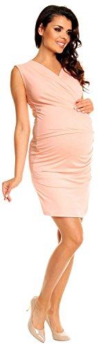 Zeta Ville - Vestido ajustado premamá elgante y asimétrico - para mujer - 045c (Albaricoque, 42)