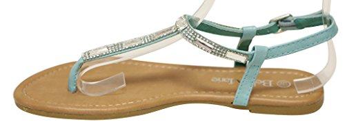 Bella Marie Meimei-1 Damestrui Teen-t-strap Met Strass En Kralen Decoraties Sandalen Mint