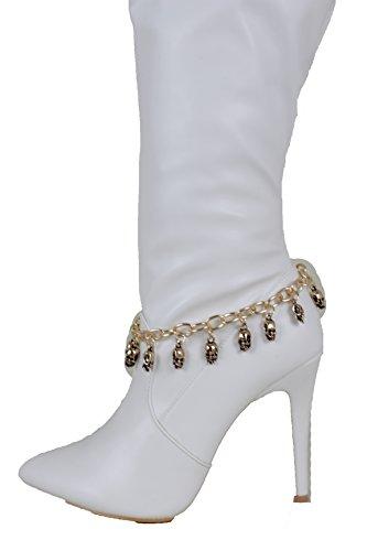 Trendy Fashion Jewelry TFJ Women Western Boot Chain Metal Gold Bracelet Skulls Anklet High Heel Halloween Skeleton Charms ()