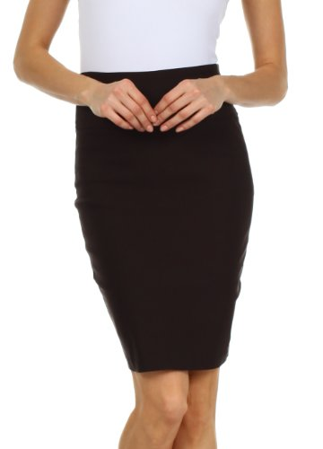 Sakkas 4441 High Waist Stretch Pencil Skirt with Rear Bow Accent - Brown - Small by Sakkas