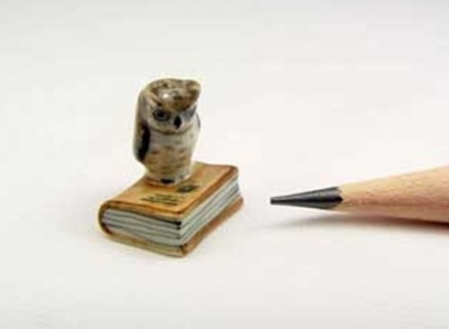 Dollhouse Miniatures Ceramic Mini owl on book FIGURINE Animals Decor