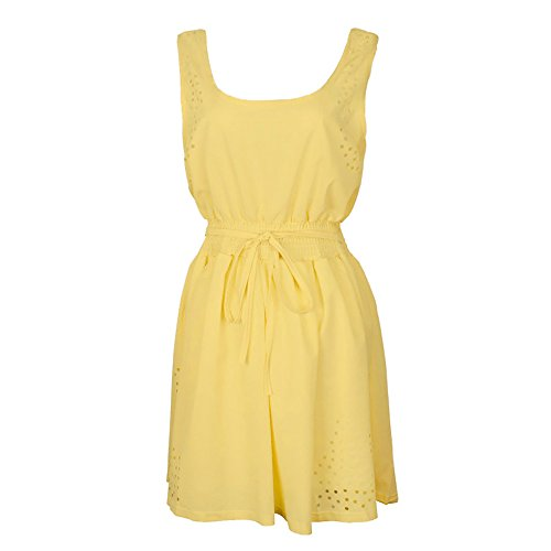 Solide de tie de Waist Party Sexy Chemise Sundress Gilet Prom Dress Vintage Mini Tunique Plage LEvifun Jaune Robe Femme Robe Soiree Mousseline Cocktail Chic Dames Ete Robe Robe Robe 5wqaT
