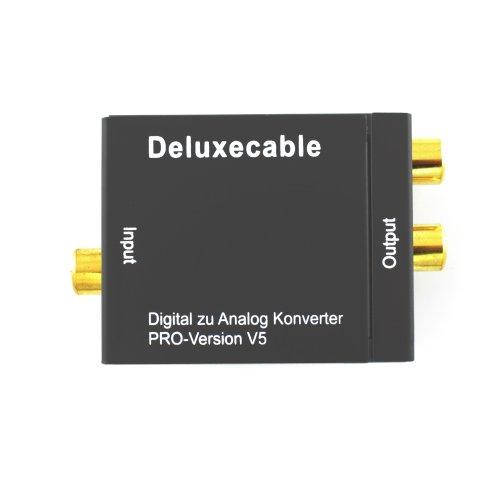 Deluxecable Digital Analog Konverter (SPDIF Toslink/Coax zu rechts/links Cinch, USB Stromversorgung, Toslinkkabel) schwarz