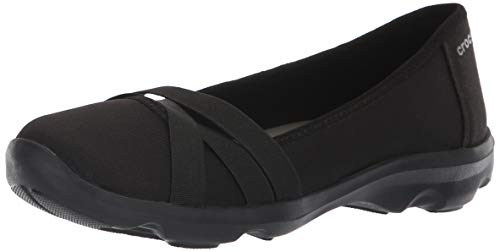 Crocs Women's Busy Day Strappy Flat, Black/Slate Grey, W9 M US