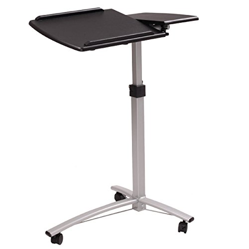 New Black Adjustable Height&Angle Rolling Mobile Laptop Desk Cart Bed Hospital Table Stand MDF+PVC+ Steel