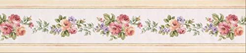- Wallpaper Border Roses Violet Cream and Red Floral 5.25