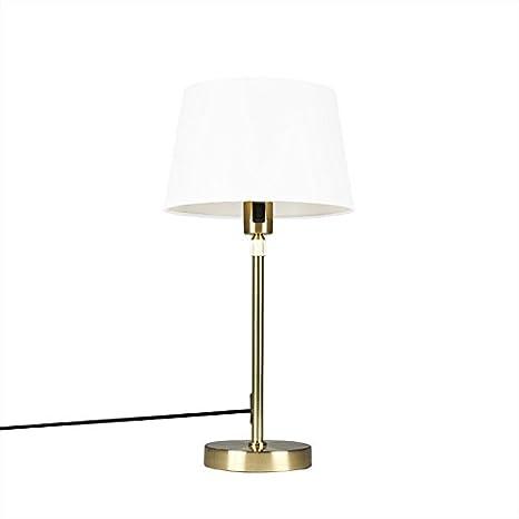 QAZQA Moderno Lámpara de mesa PARTE dorada con pantalla 25cm ...