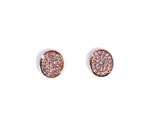 Cts Diamond Antique Style Ring - Oval Diamond Encrusted Stud Earrings 14k Rose Gold Micro Pave' .16 CTS