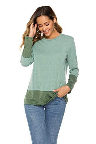 ZHENWEI Casual Tops Women Color Block Long Sleeve Shirt Round Neck Pullover Tunic Tops Loose Sweatshirt