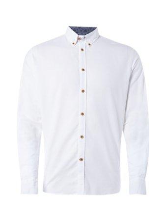 Colours & Sons Slim Fit Freizeithemd mit Kontrastausputz - Weiß