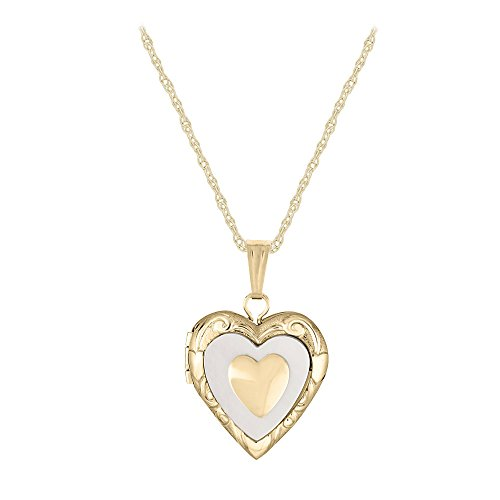 14K Yellow Gold Mother of Pearl Heart Locket Necklace For Children (15 in) by Loveivy