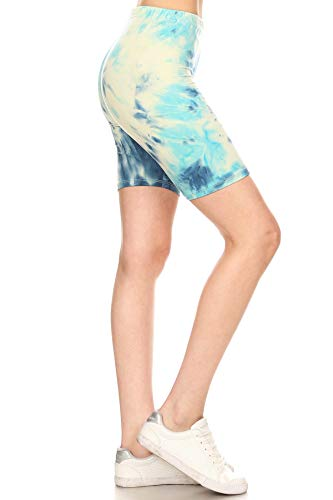- Leggings Depot LBK-R984-M Arctic Tie Dye Printed Biker Shorts, Medium