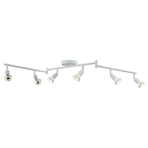 DnD 6-Light Adjustable Track Lighting Kit - Flexible Foldable Arms- GU10 Halogen Bulbs Included. CE2000-WS (White)