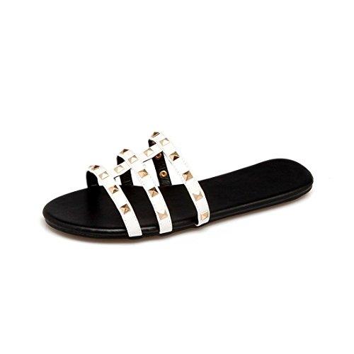 AIKAKA Zapatos de Mujer Spring Summer Flat Rivet Zapatillas de Estudiante White