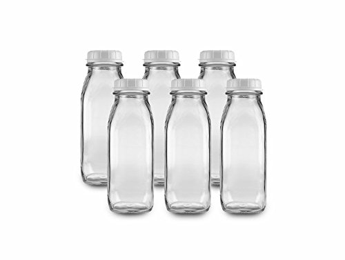 The Dairy Shoppe 1 Pint Glass Water Bottle 17 Oz (Pack of 6) (Lid Bottle Milk With)