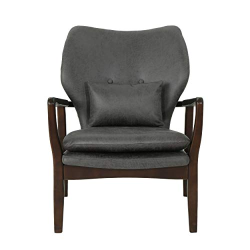 Christopher Knight Home Ventura Mid Century Modern Microfiber Club Chair, Slate/Dark Espresso (Club French Chairs)
