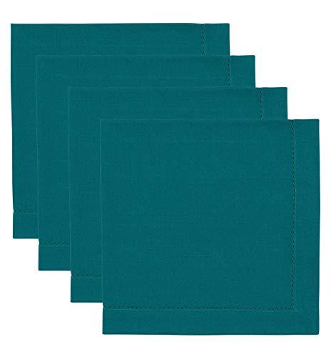 4 Basic Napkins - Now Designs Hemstitch Cotton Napkins, Set of Four, Peacock Green