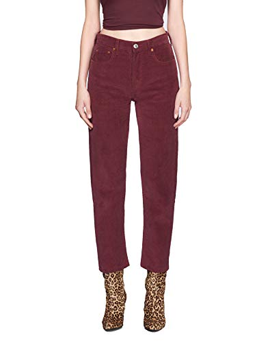 RE/DONE Corduroy High Rise Stove Pipe - Burgundy