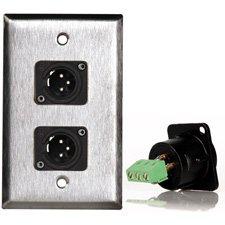 1G Ivory Lexan Wall Plate w/2 Neutrik 3-Pin XLR Male-Terminal Blocks-by-TecNec ()