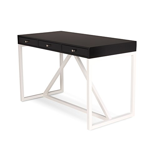 Kate and Laurel Kaya Wood Writing Desk with 3 Drawers, Black Top, and White Base