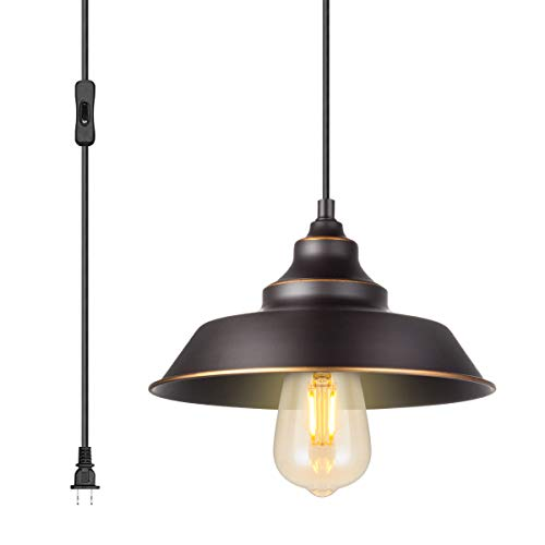 ALLTRUST Iron Hill One-Light Indoor Wall Fixture Oil Rubbed Bronze Finish with Hand-Made Golden Highlights and Metal Shade