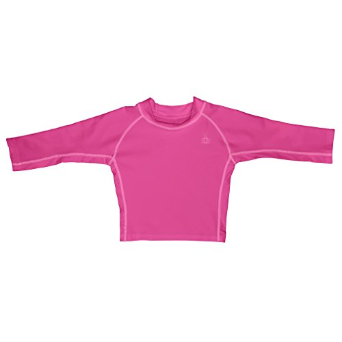 I play. Baby Long Sleeve Rashguard Shirt, Hot Pink, 18 Months