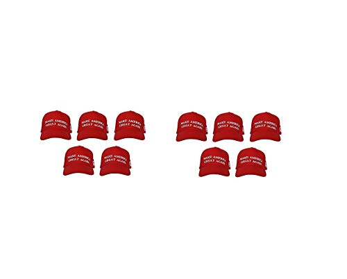(Make America Great Again Hat [10 Pack], Donald Trump USA MAGA Cap Adjustable Baseball Hat Red)