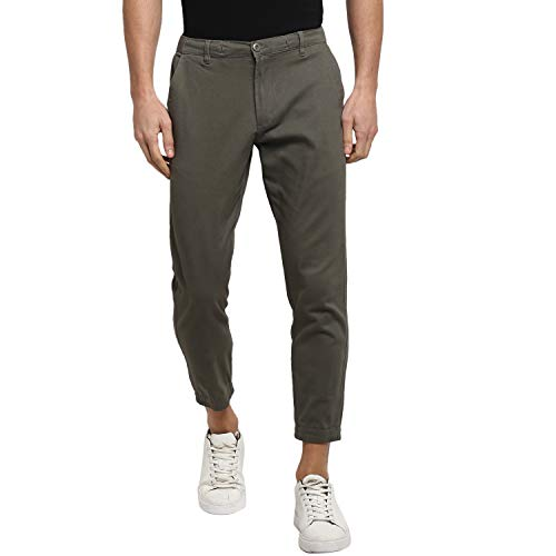 Red Tape Men's Tapered Fit Joggers (RJO0006_Olive_36)