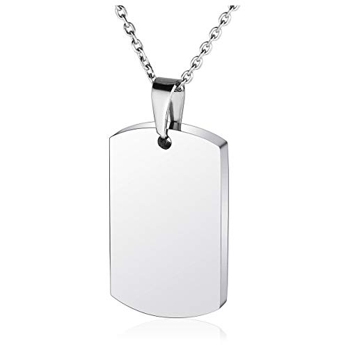 Jovivi Mens Womens Silver Stainless Steel Dog Tag Pendant Necklace Cremation Urn Jewelry Ashes Funnel Filler Kit