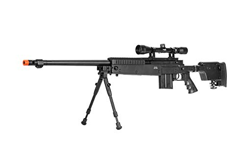 Well MB4407 Airsoft Sniper Rifle W/New Scope and Bipod - Black