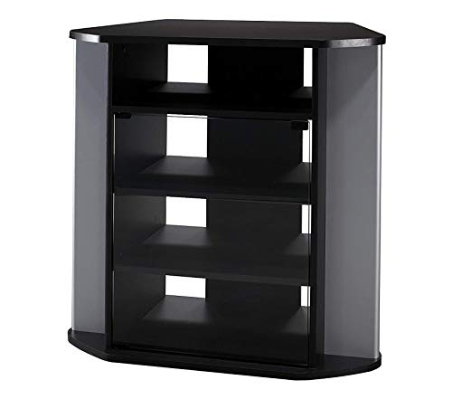 Wood & Style Office Home Furniture Premium Tall Corner TV Stand in Black and Metallic