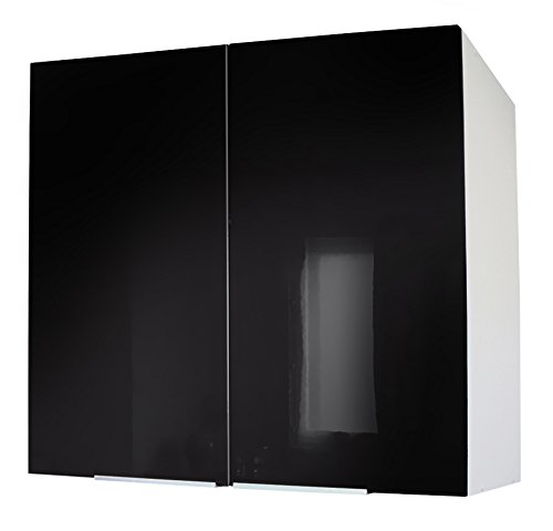 Berlenus CP8HN - Mobiletto da cucina a parete a due ante, 80 cm, colore: Nero brillante Belenus