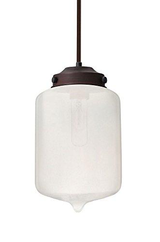Br Pendant 1 Light Stem (Besa Lighting 1TT-OLINFR-BR Olin - One Light Stem Pendant with Flat Canopy, Bronze Finish with Frost Glass)