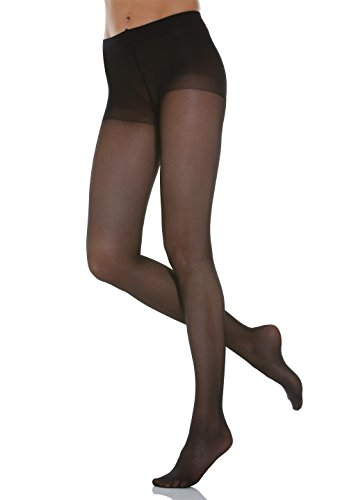 Alpha Medical 8-15 mmHg Compression Pantyhose, Graduated Compression & Support Hosiery Fine Italian Made Fashionable Sheer Stockings (Size 1 Black)