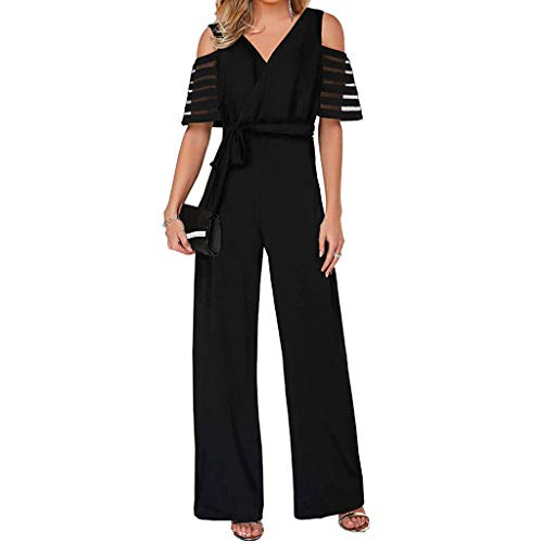 HJuyYuah Women's Fashion High Waist with Cold Shoulders Solid Color Wide Leg Jumpsuit Black