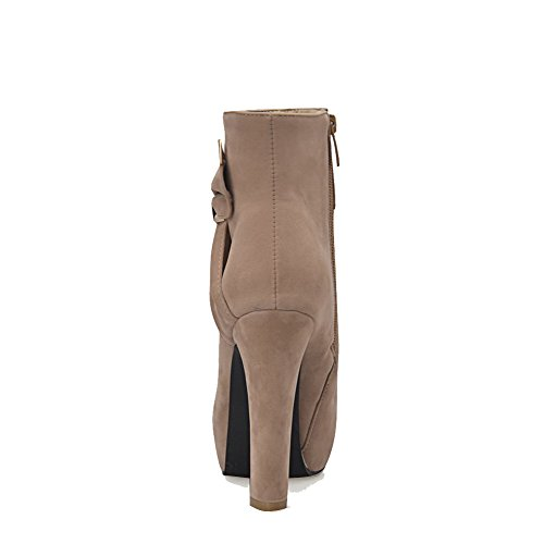 Allhqfashion Mujeres Low-top Zipper Frosted High-heels Round Botas Cerrado Dedo Albaricoque