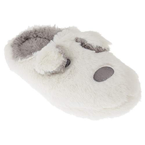 Grey Fur Slippers White Faux Ladies SlumberzzZ Womens Dog nwW464SU