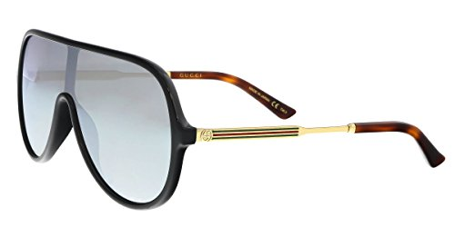 Gucci GG 0199S 002 Black Plastic Shield Sunglasses Silver Mirror Lens (Shield Lens Plastic Sunglasses)